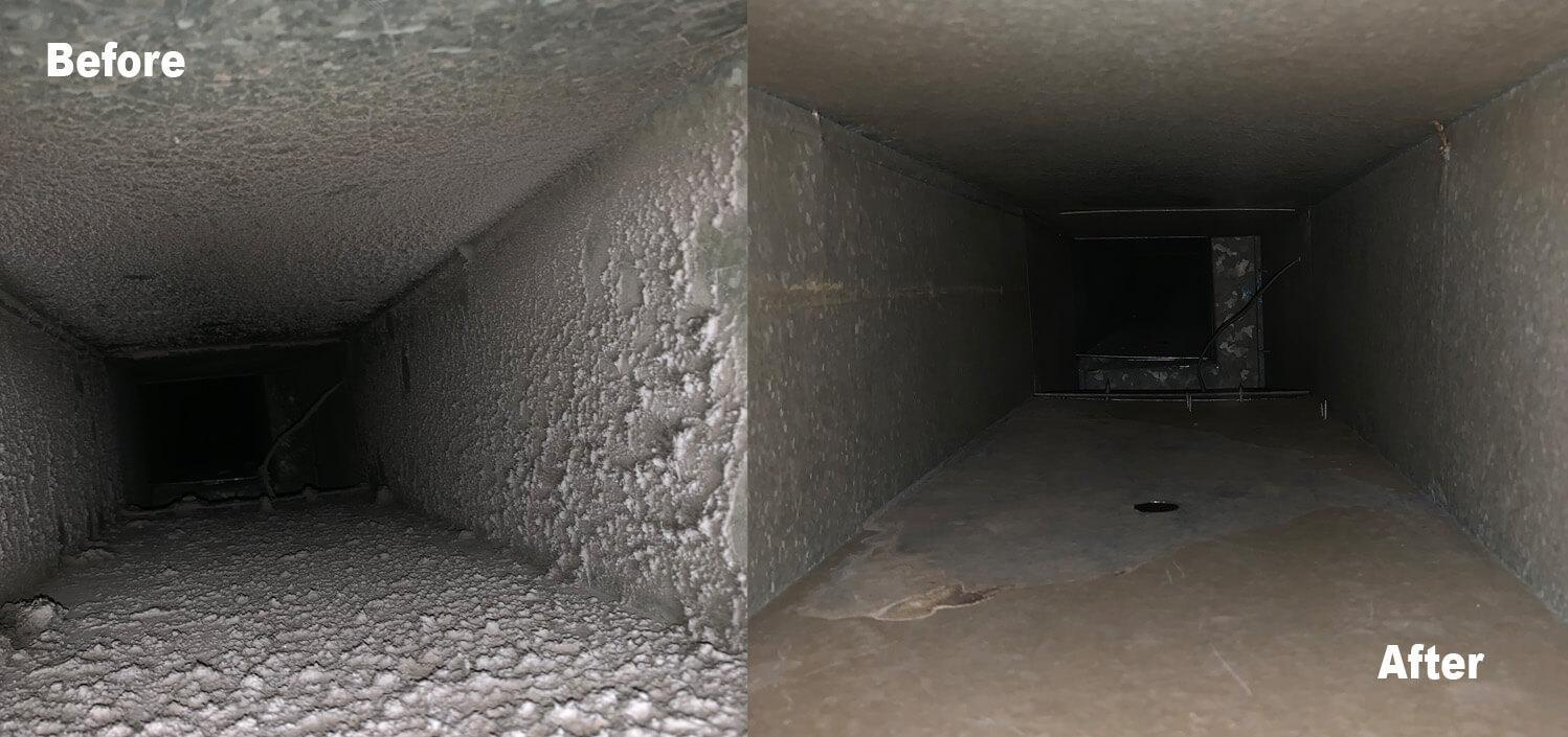 Clean air duct before and after