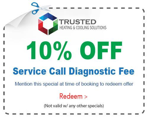 HVAC heating and cooling service call specials